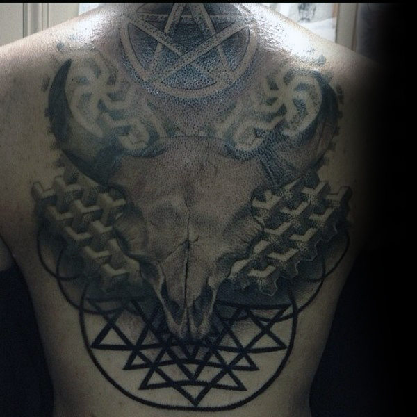 Guys Torso Awesome 3D Pentagram And Horned Deer Tattoo