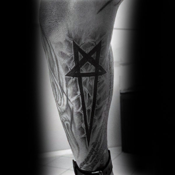 Long Sharp Ended Pentagram Tattoo Guys Forearms