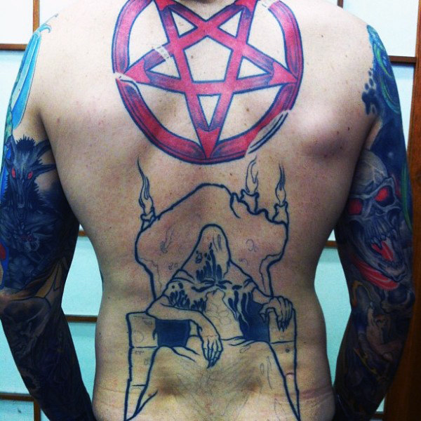 Male Back Red Pentagram Tattoo