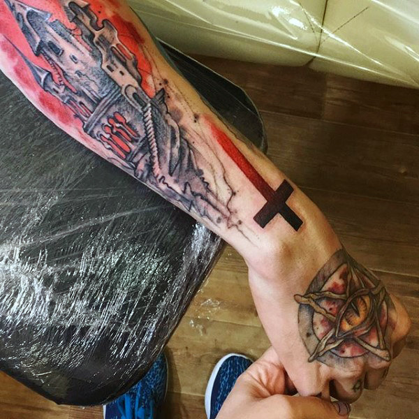 Male Hands Amber Eyed Pentagram Tattoo