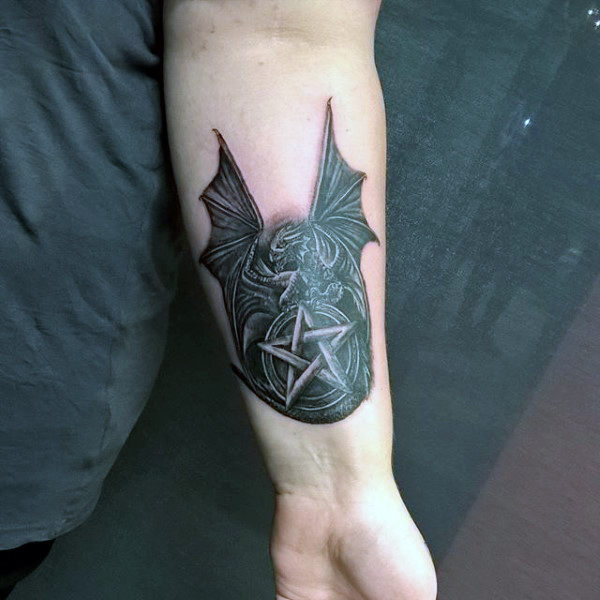 Manly Dark Black Bat And Pentagram Tattoo Guys Forearms