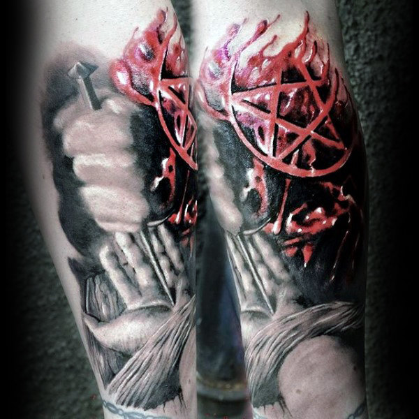 Mens Forearms Blinding Red Pentagram Tattoo