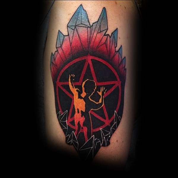 Mens Forearms Pentagram With Icicles Tattoo