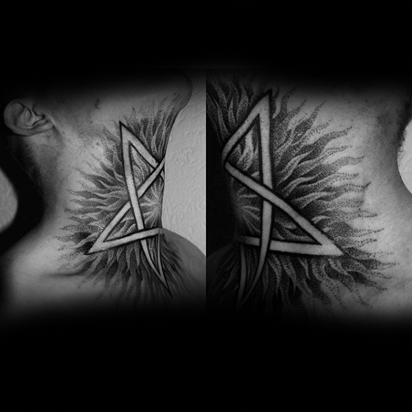 Mens Throat Pentagram Tattoos
