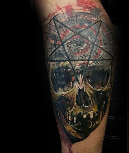 One Eyed Pentagram And Skull Tattoo Guys Forearms