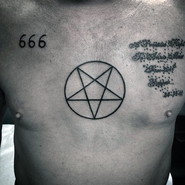 Simple Pentagram Tattoo Guys Chest