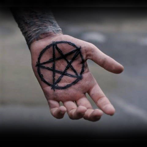 Creative Dark Black Pentagram Tattoo Male Palms