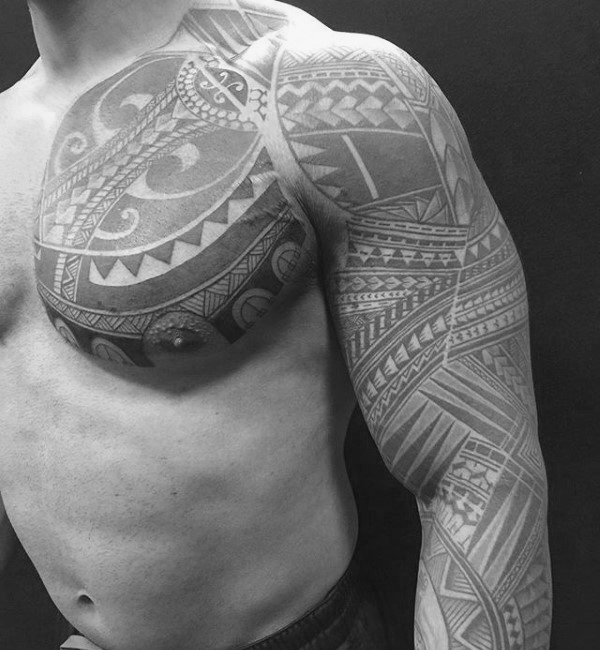 Guys Chest Tattoo Inspiration With Traditional Polynesian Style