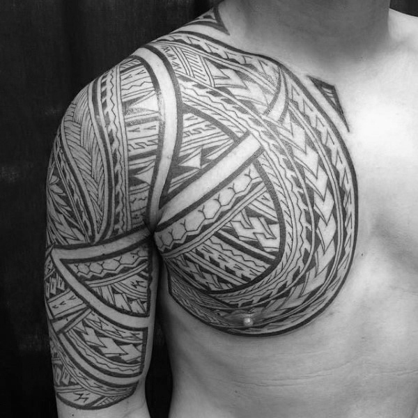 Guys Polynesian Black Ink Tribal Tattoo Designs On Chest