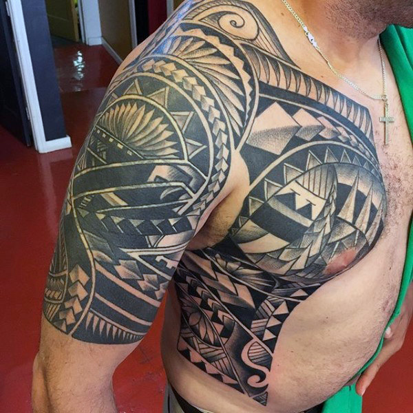 Half Sleeve With Polynesian Chest Mens Tattoos