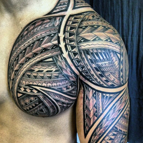 Manly Guys Tribal Polynesian Chest Tattoos