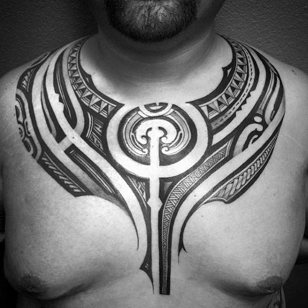 Awesome Guys Polynesian Tattoo Tribal Chest Ideas