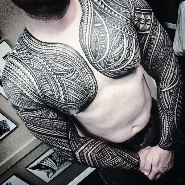 Masculine Polynesian Chest Tattoo Ideas For Guys