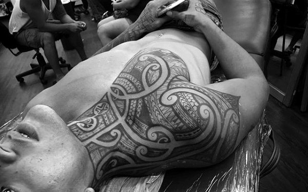 Neck And Chest Guys Polynesian Tribal Tattoos