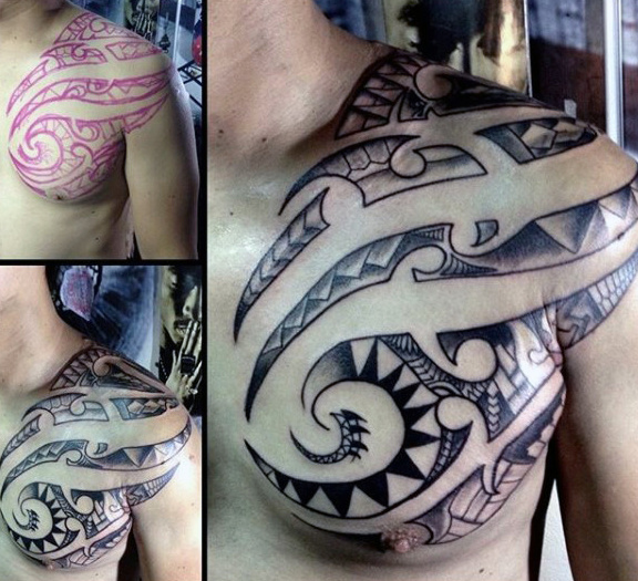 Negative Space Polynesian Chest Male Tattoo Ideas