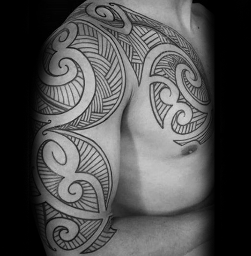 Black Ink Lines Polynesian Male Tribal Arm And Chest Tattoos