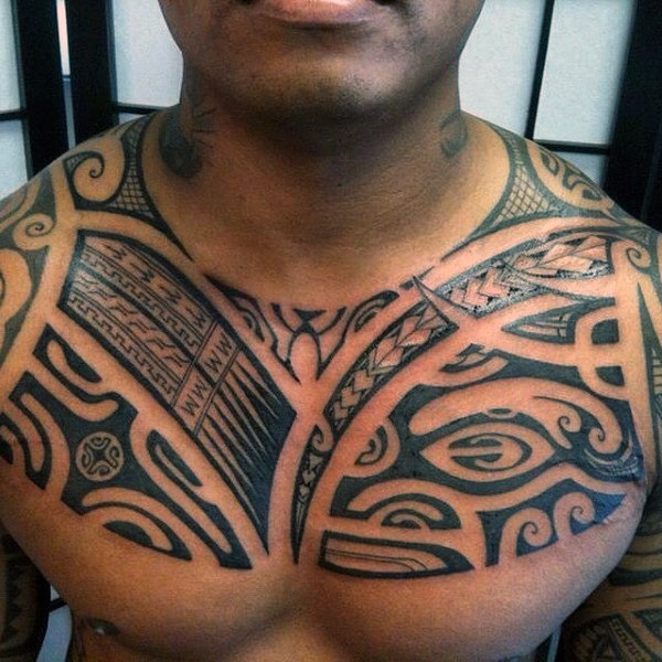 Traditional Tribal Polynesian Chest Male Tattoo Designs