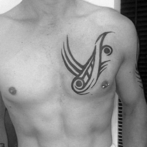 50 Simple Chest Tattoos For Men, Manly Upper Body Design Ideas