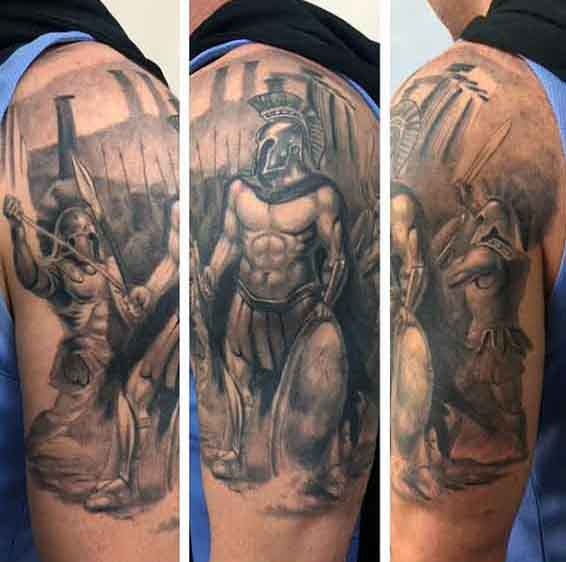 लड़का's Greek Spartan Warrior Tattoos