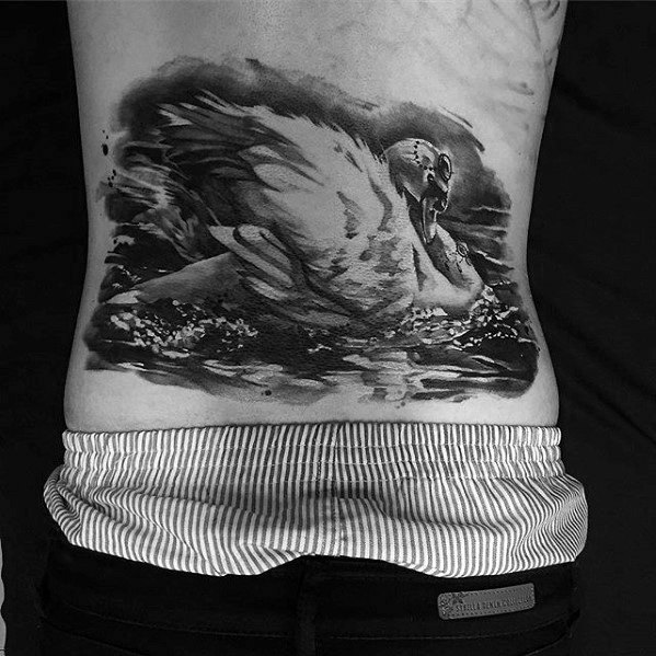 Lower Back Male Swan Tattoo diseño inspiración