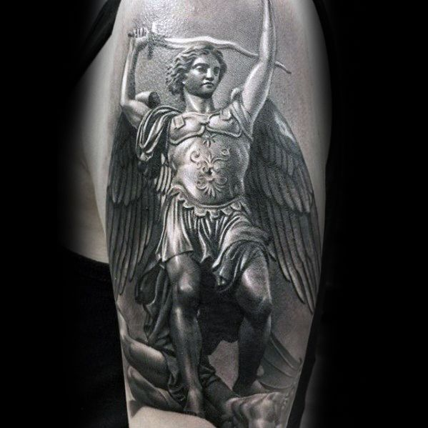 3d Angel Realistic Epic Tattoo Ideas en hombres