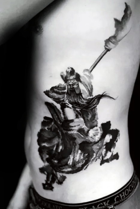 Guys Epic Watercolor Rib Cage Side Tattoo