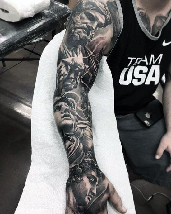 Full Arm Sleeve Greek God Themed Artistic Male Epic Tattoo Ideas
