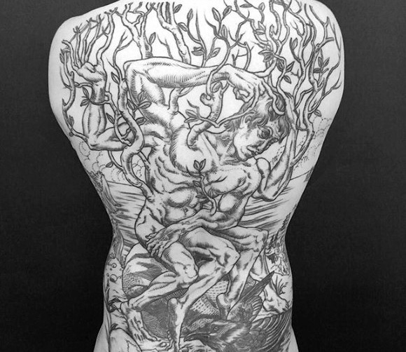 Mens Epic Full Back Tree Man Tattoo Diseño Inspiración