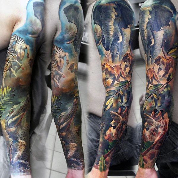 Mens Jungle Full Arm Sleeve Epic Tattoo Ideas