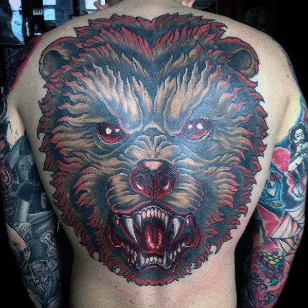 Old School Traditional Bear Head Epic Tattoo Designs para chicos