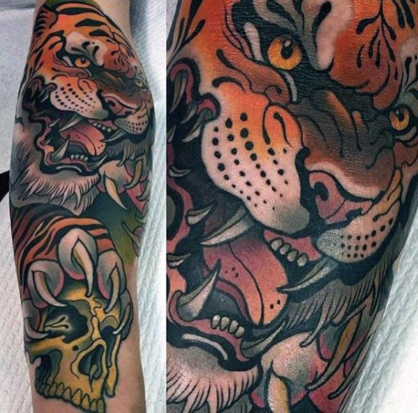 Cool Male Neo Traditional Tiger Skull Diseños de tatuajes épicos