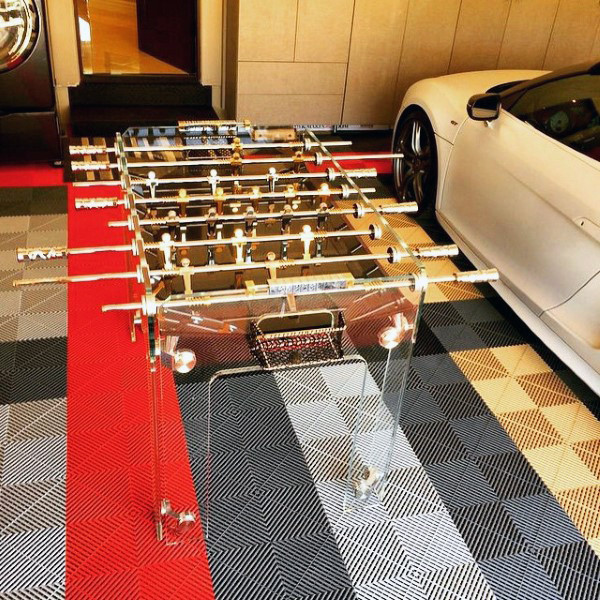 Cool Mens Garage Game Room Ideas With Plexiglass Foosball Table