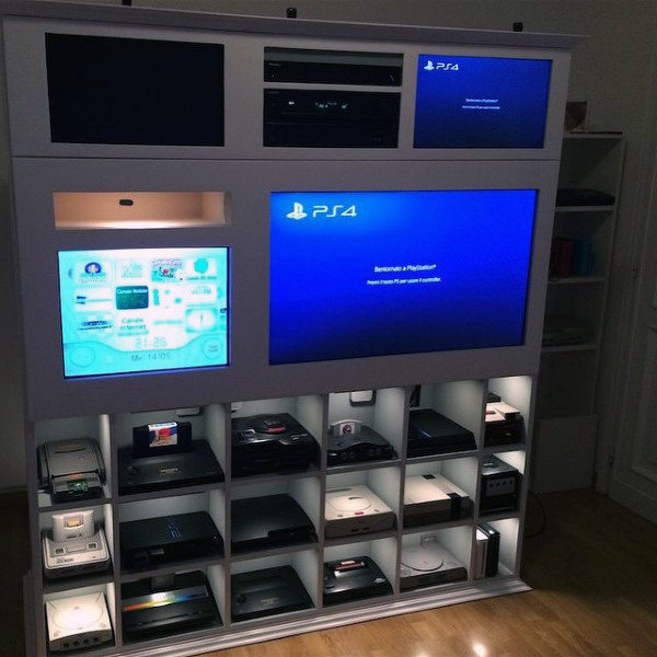 Gaming Console Wall Mens Game Room Ideas