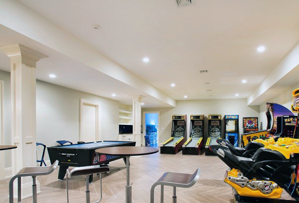 Home Basement With Game Room White Paint Wall Design