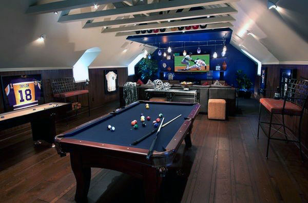 Mens Attic Man Cave Game Room With Lounge And Pool Table