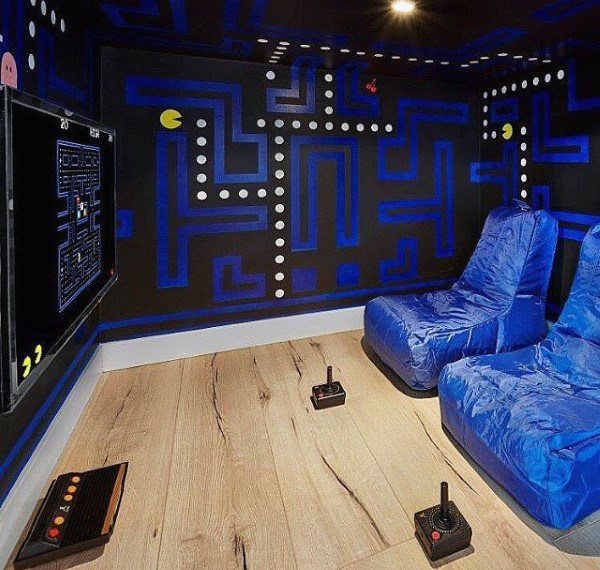 Mens Pacman Themed Game Room Design Ideas