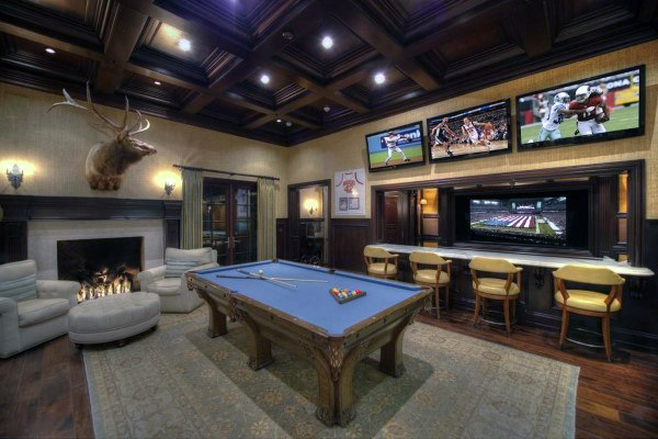 Amazing Mens Game Room With Bar And Fireplace
