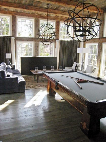 Rustic Lounge With Pool Table Wood Plank Mens Game Room Ideas
