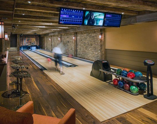 Vintage Bowling Alley In Home Mens Game Room Ideas