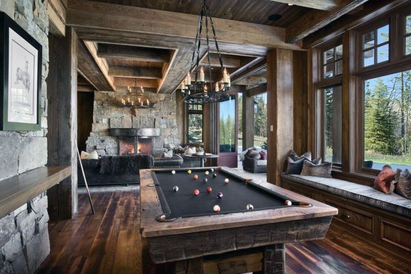 Wood Cabin Masculine Guys Game Room Designs With Pool Table And Fireplace