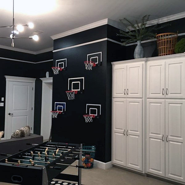 Black Wall Paint With Basketball Hoops Mens Game Room Ideas
