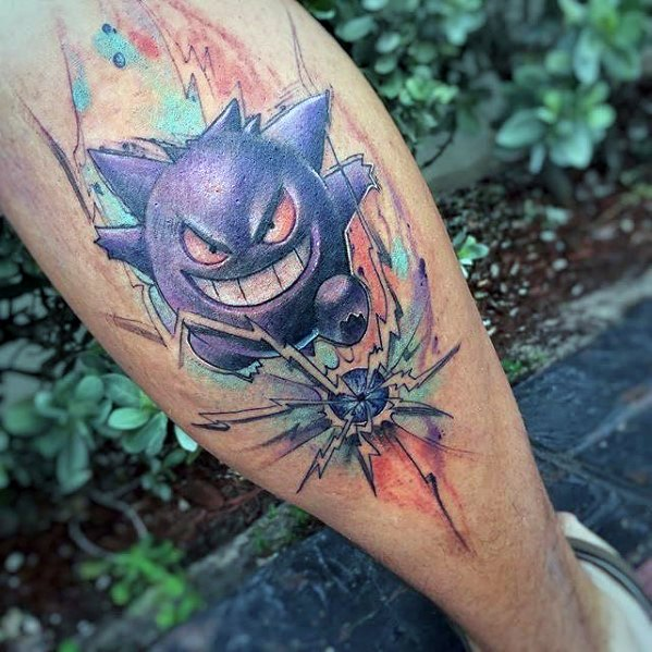 Aquarelle dos de jambe mens gengar tatouage