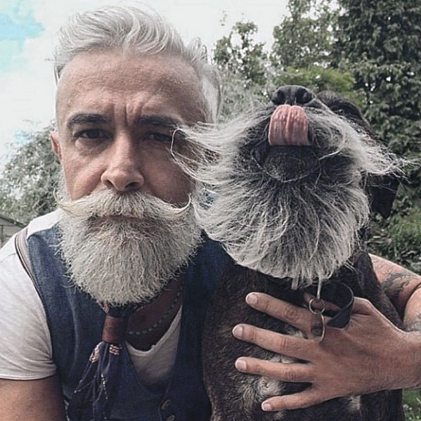 Masculine Rugged Male Grey Beard Style Ideas