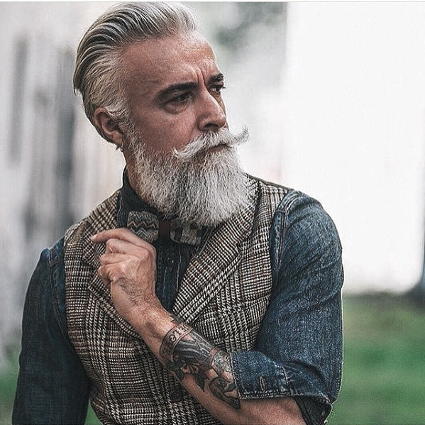 Mens Grey Beard Dapper Style Ideas