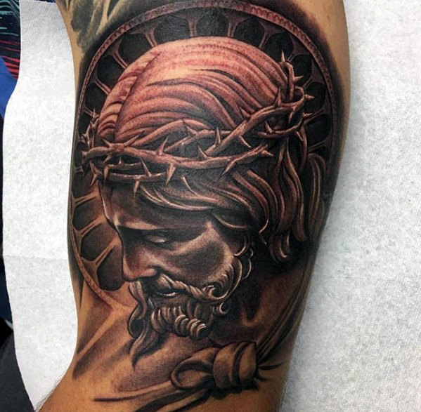 Awesome Black And Gray Male Jesus Arm Tattoo