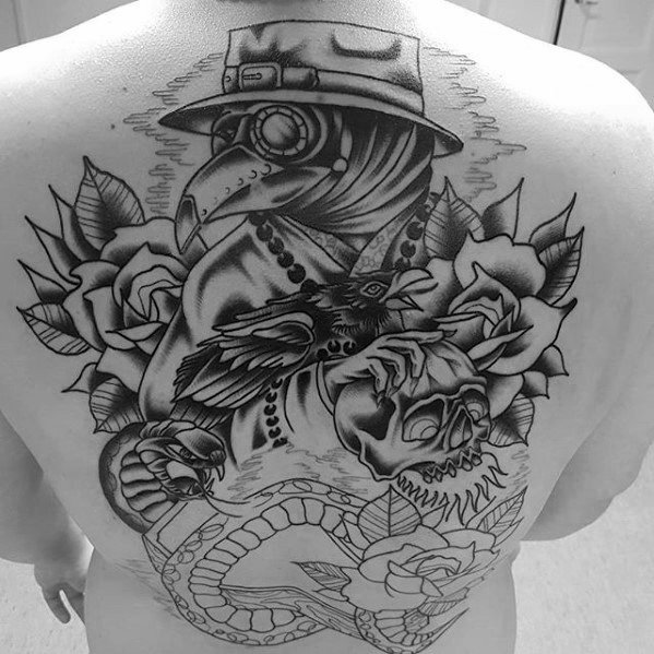 Old School Traditional Full Back Amazing Mens Wabah Dokter Rose Flower Tattoo Designs