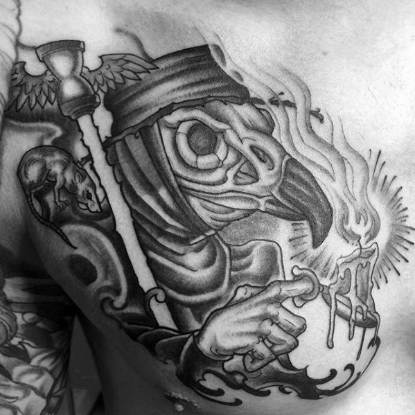 Upper Chest Old School Mens Plague Doctor Tattoo Design Inspiration