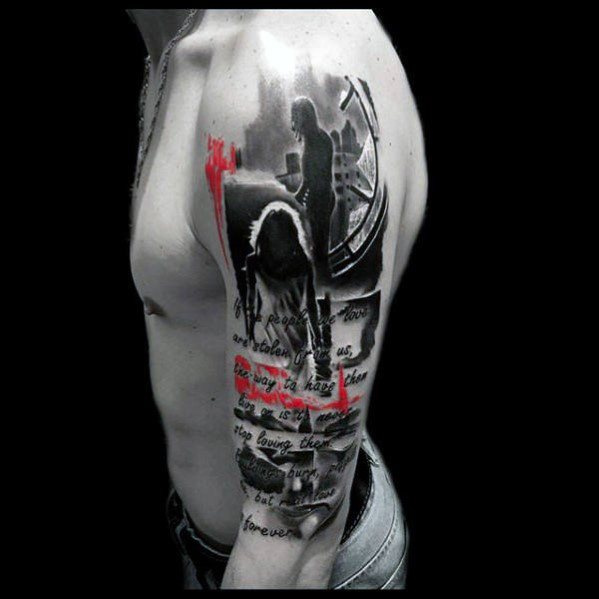 Half Sleeve Uros Cool Red ja Black Tattoo Ideat