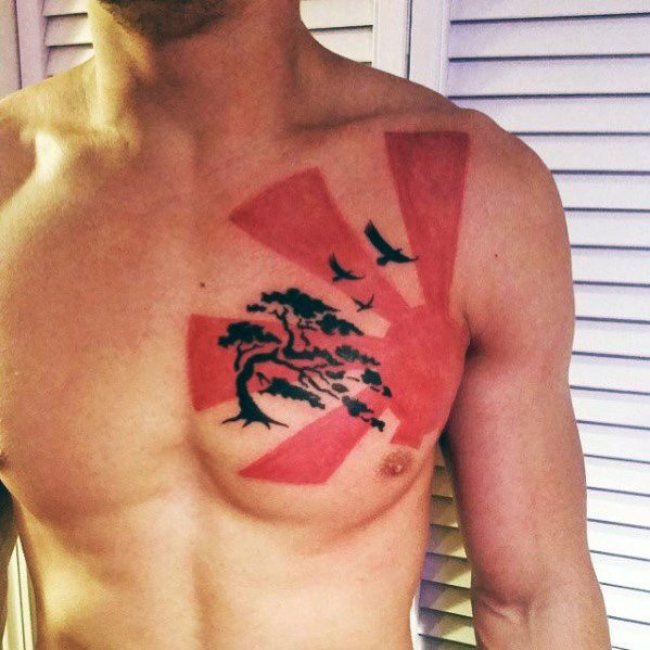 Rising Sun Chest Red And Black Guys Tatuoinnit