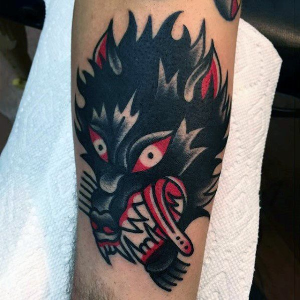 Perinteiset Wolf Guys Red And Black Tattoo Design Ideat